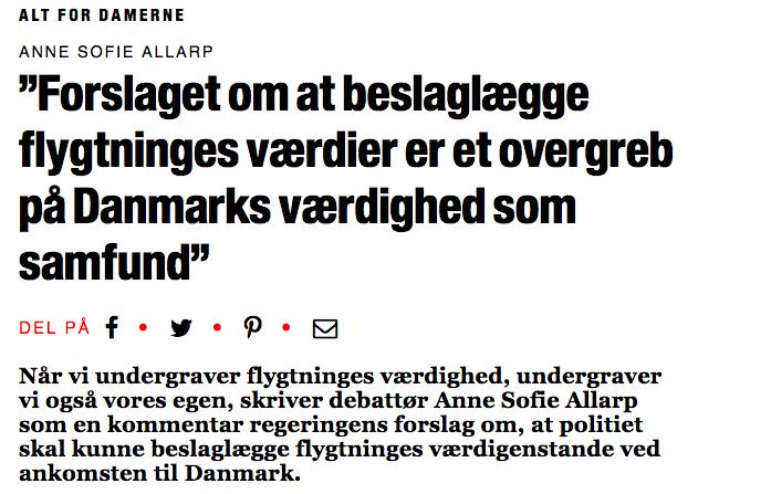 Forslaget Om At Beslaglægge Flygtninges Værdier Er Et Overgreb På Danmarks Værdighed Som Samfund